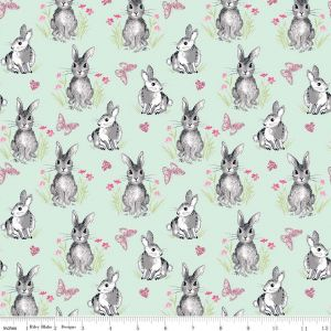 Riley Blake - Novelty Of the Month  - Bunnies on Mint, per fat quarter