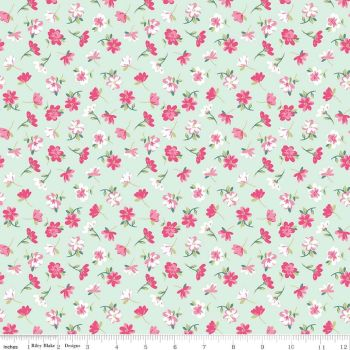 Riley Blake - Novelty Of the Month  - Pretty Flowers on Mint, per fat quarter