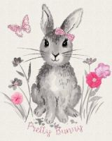 <!--5470-->Riley Blake - Novelty Of The Month - Pretty Bunnies & Flowers Panel, per panel
