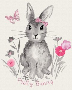 Riley Blake - Novelty Of The Month - Pretty Bunnies & Flowers Panel, per panel