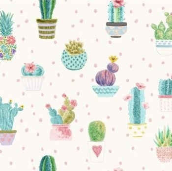 The Blank Quilting Corporation - Sun N Soil - Watercolour Cactus, per fat quarter
