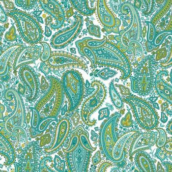 Makower UK - Monsoon - Paisley in Turquoise, per fat quarter