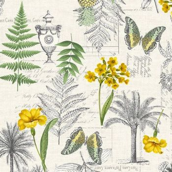Makower UK - Fern Garden - Montage on Cream, per fat quarter