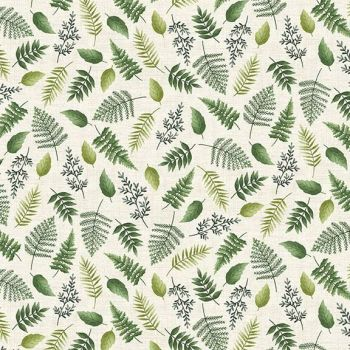 Makower UK - Fern Garden - Leaf Scatter on Cream, per fat quarter