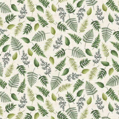 <!--3295-->Makower UK - Fern Garden - Leaf Scatter on Cream, per fat quarte