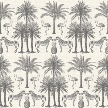 Makower UK - Fern Garden - Palm in  Grey, per fat quarter