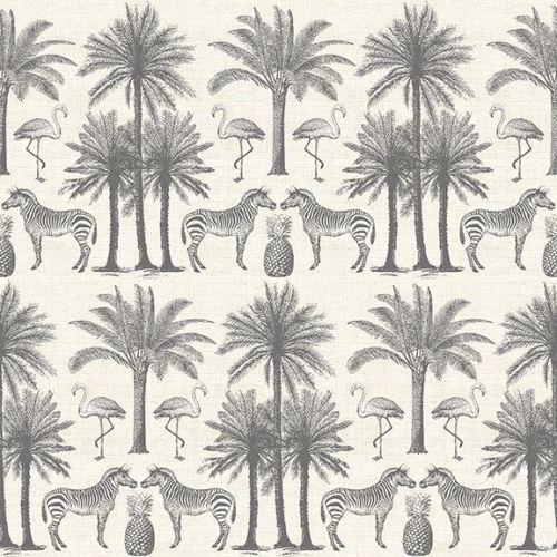 <!--3297-->Makower UK - Fern Garden - Palm in  Grey, per fat quarter