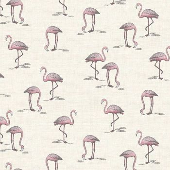 Makower UK - Fern Garden - Flamingos  on Cream, per fat quarter