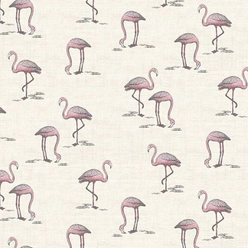 <!--3298-->Makower UK - Fern Garden - Flamingos  on Cream, per fat quarter