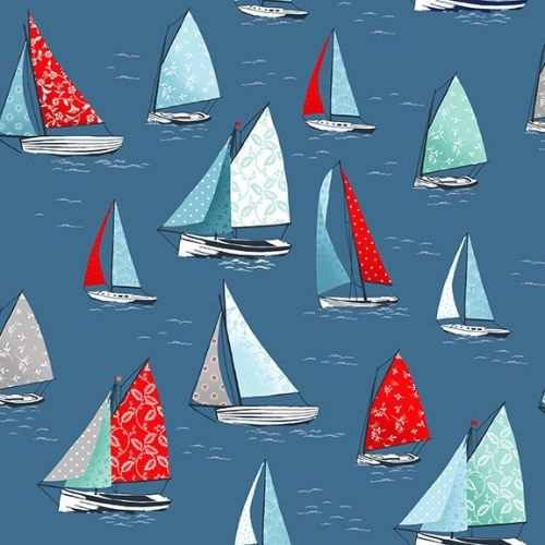 <!--3301-->Makower UK - Sea Breeze - Yachts on Blue, per fat quarter