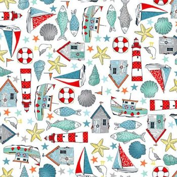 Makower UK - Sea Breeze - Icon Montage on White, per fat quarter