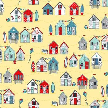 Makower UK - Sea Breeze - Beach Huts on Yellow, per fat quarter