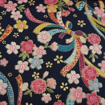 Sevenberry - Blossom and Bows on Navy (with gold metallic detailing), per fat quarter