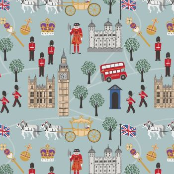 Lewis & Irene - Britannia - Royal Britannia on Blue, per fat quarter