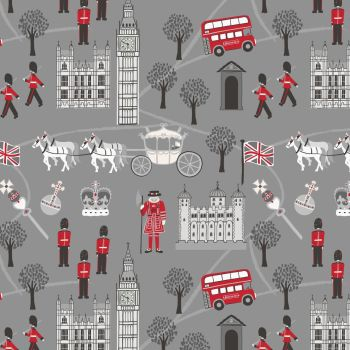 Lewis & Irene - Britannia - Royal Britannia on Grey, per fat quarter
