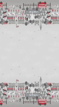 Lewis & Irene - Britannia - Double Border in Grey/Black/Red, per fat quarter