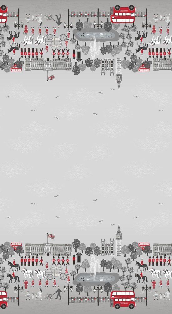 <!--4278-->Lewis & Irene - Britannia - Double Border in Grey/Black/Red, per