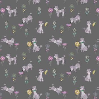 Lewis & Irene - Poodle & Doodle - Poodle on Dark Grey, per fat quarter