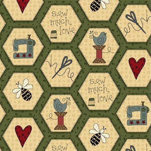<!--5283-->Henry Glass - Home Sewn - Hexies on Green, per fat quarter
