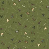 <!--5284-->Henry Glass - Home Sewn on Green, per fat quarter