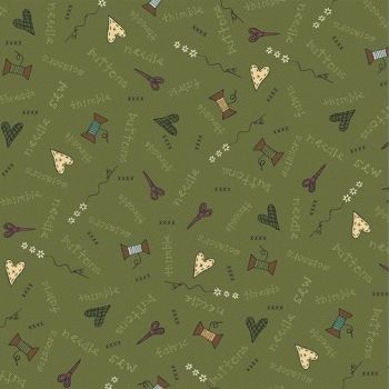 Henry Glass - Home Sewn on Green, per fat quarter