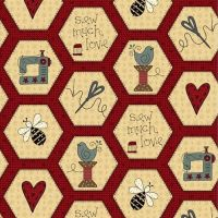 <!--5285-->Henry Glass - Home Sewn - Hexies on Red, per fat quarter