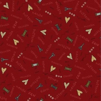 Henry Glass - Home Sewn on Red, per fat quarter