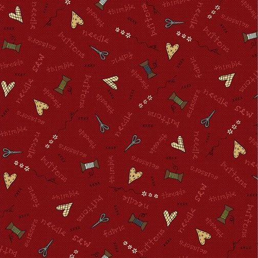 <!--5286-->Henry Glass - Home Sewn on Red, per fat quarter