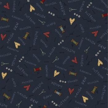 Henry Glass - Home Sewn on Blue, per fat quarter