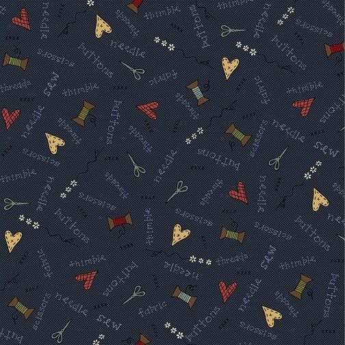 <!--5287-->Henry Glass - Home Sewn on Blue, per fat quarter