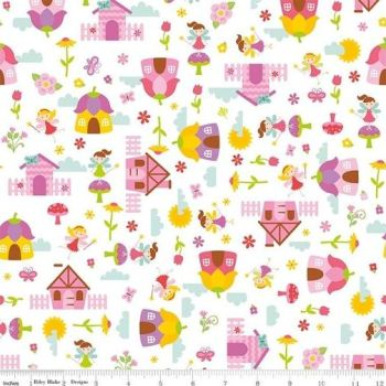 Riley Blake - Fairy Garden - Main in White, per fat quarter