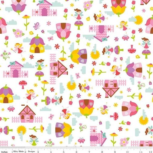 <!--5472-->Riley Blake - Fairy Garden - Main in White, per fat quarter