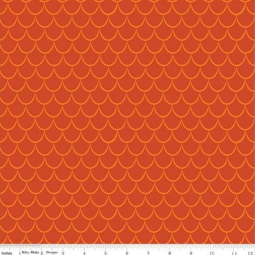 <!--5477-->Riley Blake - Dragons - Scales in Orange, per fat quarter