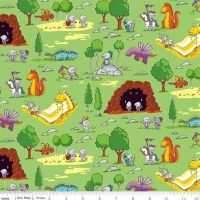 <!--5480-->Riley Blake - Dragons - Fun in Green, per fat quarter