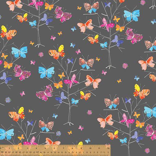 <!--5522-->Windham Fabrics - Kaleidoscope - Butterflies Garden on Grey, per