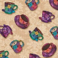 <!--5365-->Studio E - Coffee Break - Coffee Cups on Latte, per fat quarter