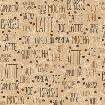 Studio E - Coffee Break - Coffee Script in Latte, per fat quarter