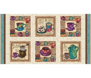 "Studio E - Coffee Break - 10.5"" Squares Panel, per panel"