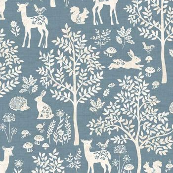 Makower UK - Woodland - Forest in Blue, per fat quarter