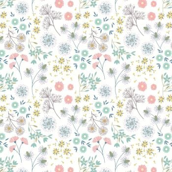 Lewis & Irene - Old Harry Rocks - Old Harry Rocks flowers on cream, per fat quarter