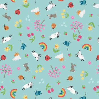 Lewis & Irene - Whatever the Weather - Spring on duck egg, per fat quarter