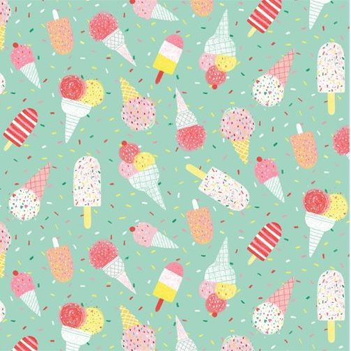 <!--5377-->Studio E - Summerlicious - Ice Creams on aqua, per fat quarter