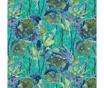 Studio E - Feather & Flora - Dandelion on Light Blue, per fat quarter