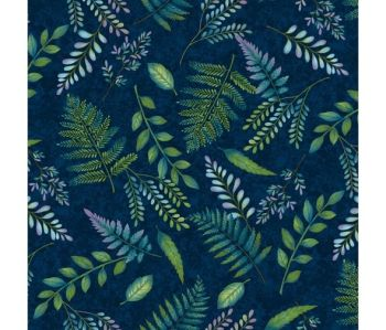 Studio E - Feather & Flora - Fern in Dark Blue, per fat quarter