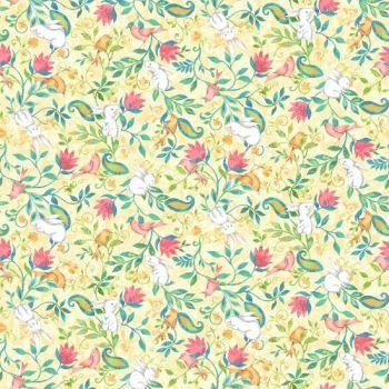 Henry Glass - Sweet Tweet & Bunnies on lemon, per fat quarter