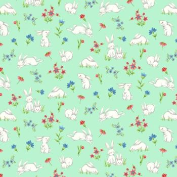 Henry Glass - Sweet Tweet & Bunnies - Spring Bunnies on blue, per fat quarter