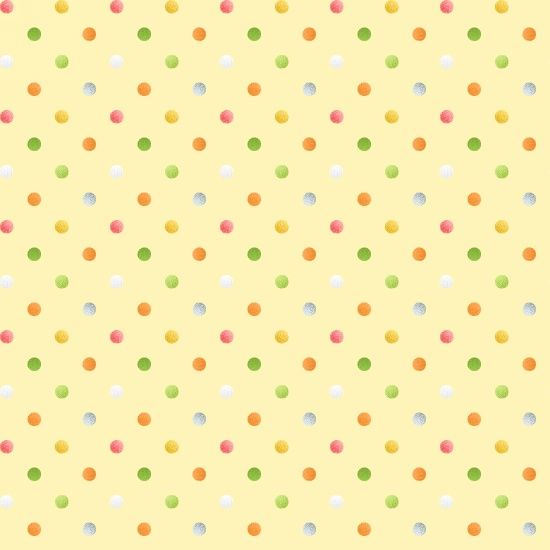 <!--5290-->Henry Glass - Sweet Tweet & Bunnies - Multi Spot on yellow, per