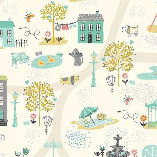 <!--3310-->Makower UK - A Walk in the Park - Scenic on Cream