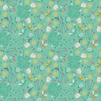 <!--3315-->Makower UK - A Walk in the Park - Flowers on Turquoise