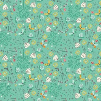 Makower UK - A Walk in the Park - Flowers on Turquoise